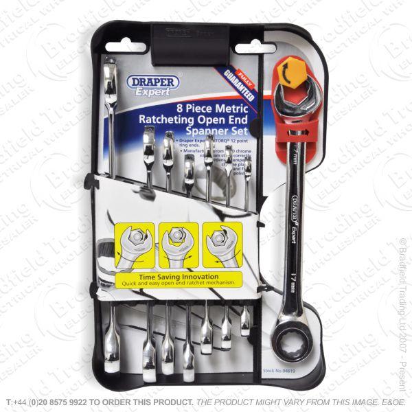 G38) Spanner Comb Ratchet 8pc Set MM DRA