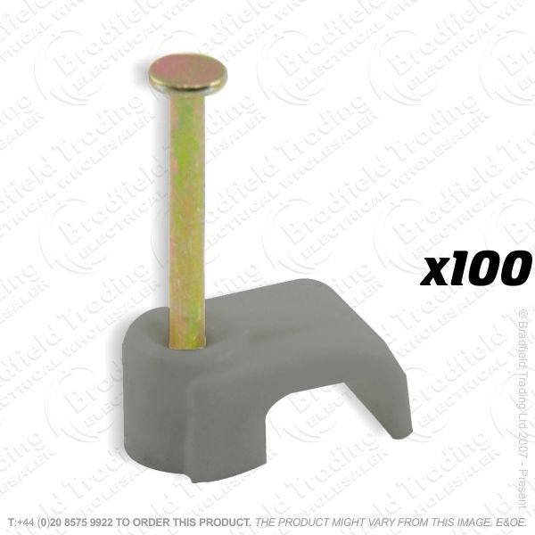 H02) Cable Clips T E Flat 1mm grey x100