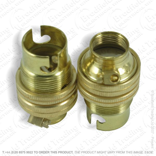 B02) Lamp Holder BC 10mm entry brass LIL