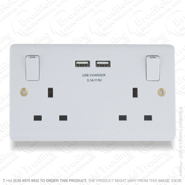 Socket Switched 2G 13A USB White ECO