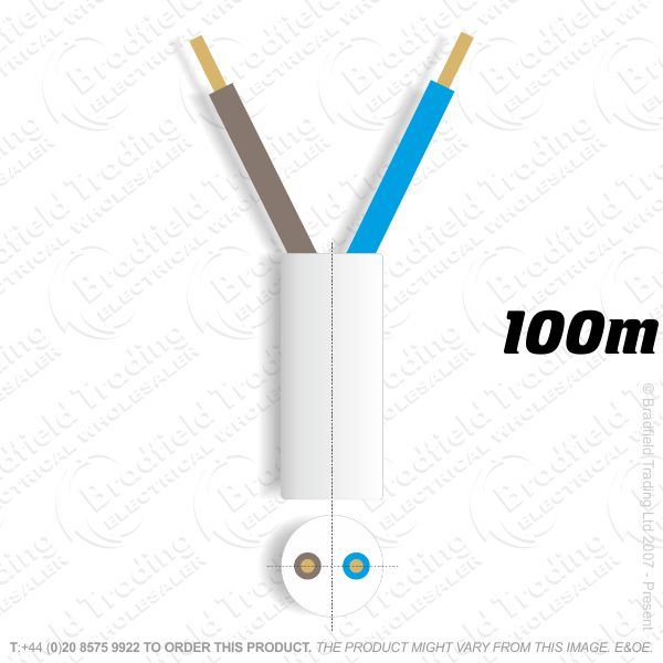 H06) 3182Y Round 1mm 2 core white 100M