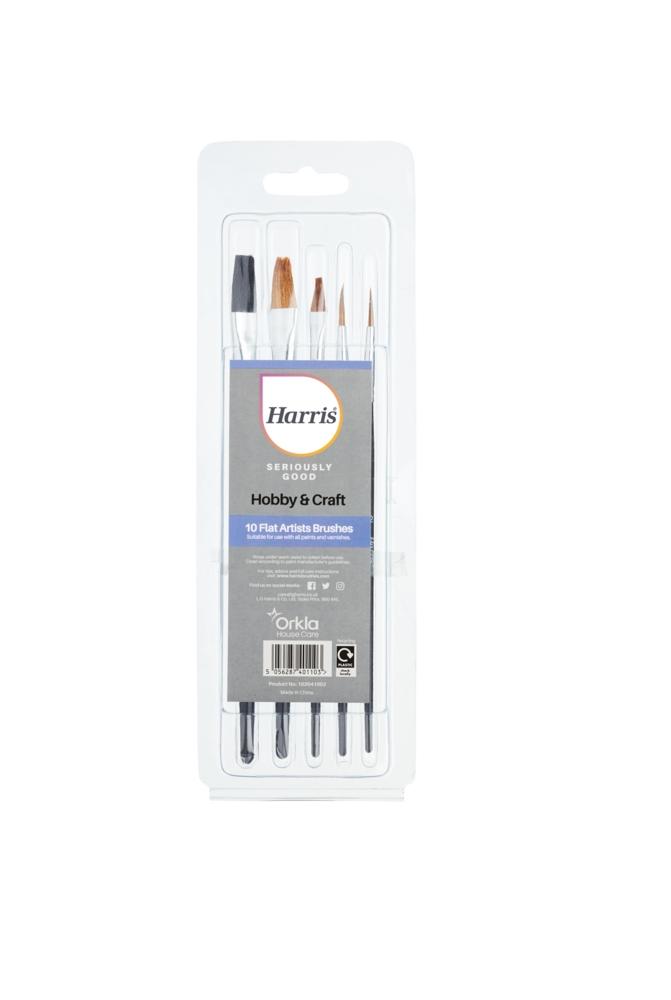 Artist Flat Paint Brush Set x10 HARRIS
