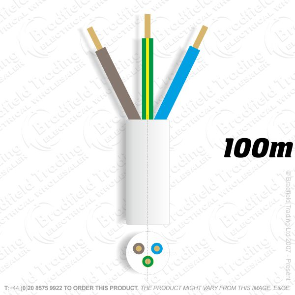 H06) 3183Y Round 1mm 3 core white 100M