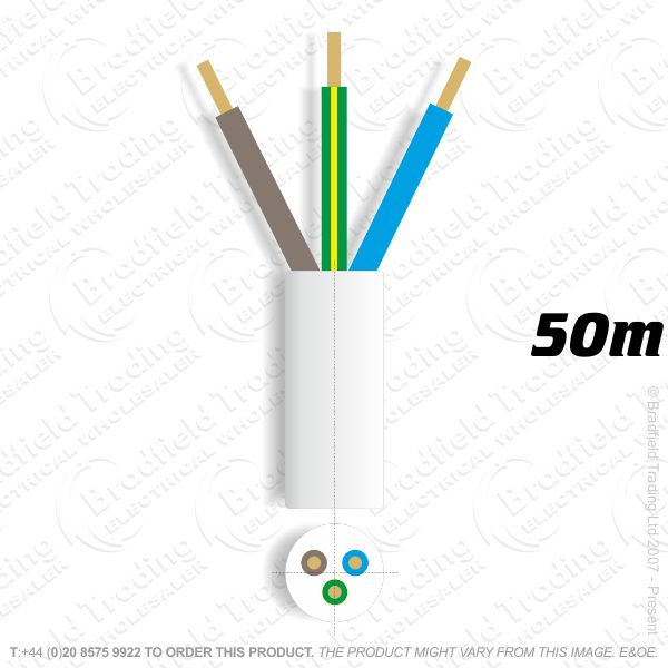 H06) 3183Y Round 1mm 3 core white 50M