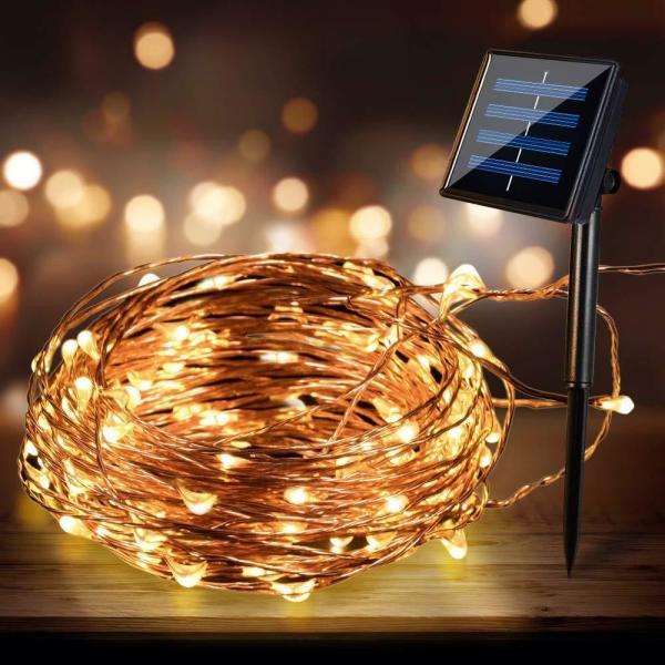 300 Micro LED Solar Lights Copper Warm White