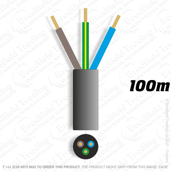 H06) 3183Y Round 1mm 3 core black 100M