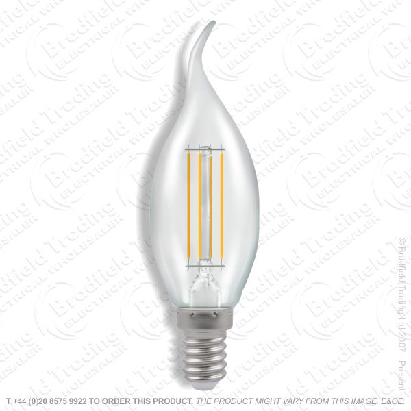 A28) 5W Bent Tip Fila Clear Candle SES Dim CR
