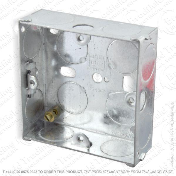 H22) Metal Box 1G 47mm Flush Galvanized