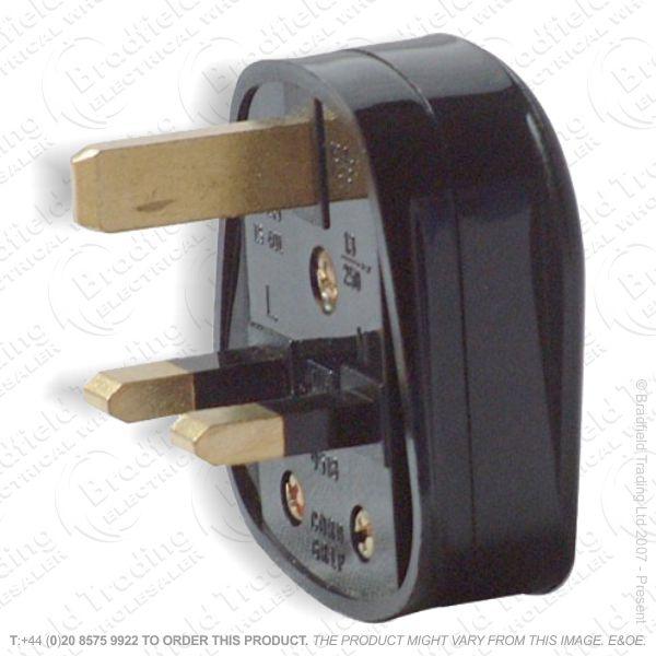 F02) Plug UK 13A Fused 3pin Black RED GREY