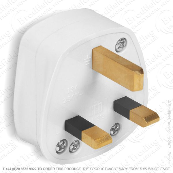 F02) Plug  UK 13A Fused 3pin white RED GREY