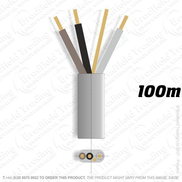 H10) 6243Y Flat 1mm 3c   Earth Grey 100M Cabl