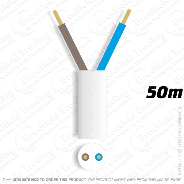 H06) 3182Y Round 1.5mm 2 core white 50M