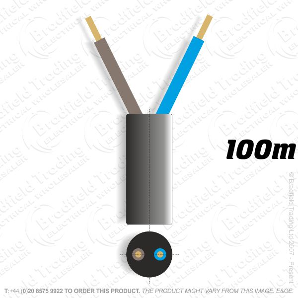 H06) 3182Y Round 1.5mm 2 core black 100M