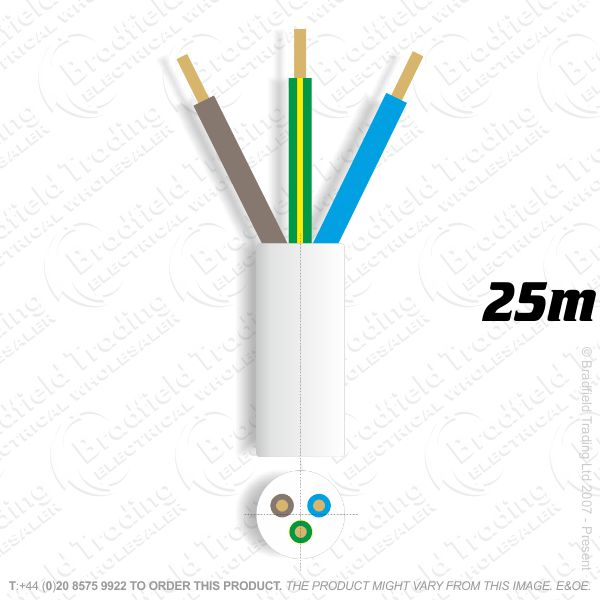 H06) 3183Y Round 1.5mm 3 core white 25M