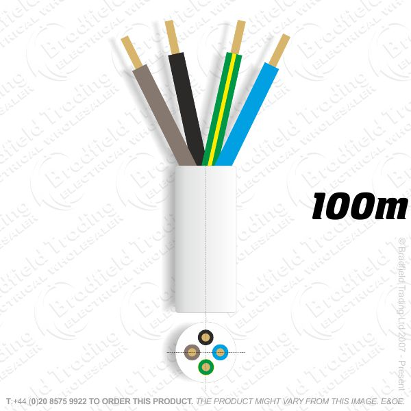 H06) 3184Y Round 1.5mm 4 core white 100M