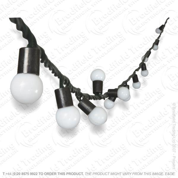 D08) 80 LED 12M Bauble Connet Lights Cool Wh