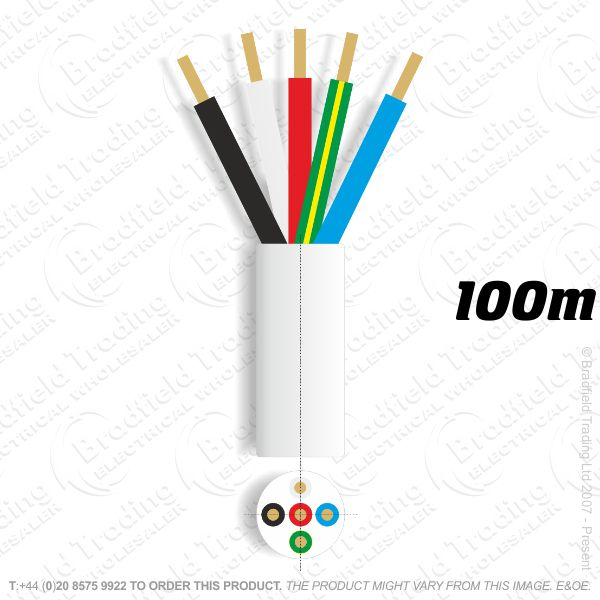 H06) 3185Y Round 1.5mm 5 core white 100M
