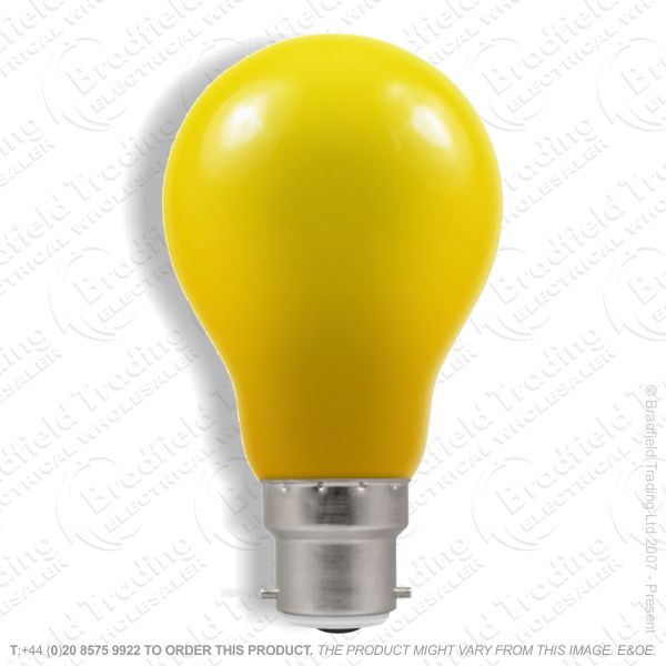 A02) GLS Coloured BC Yellow 15W 110V Bulb