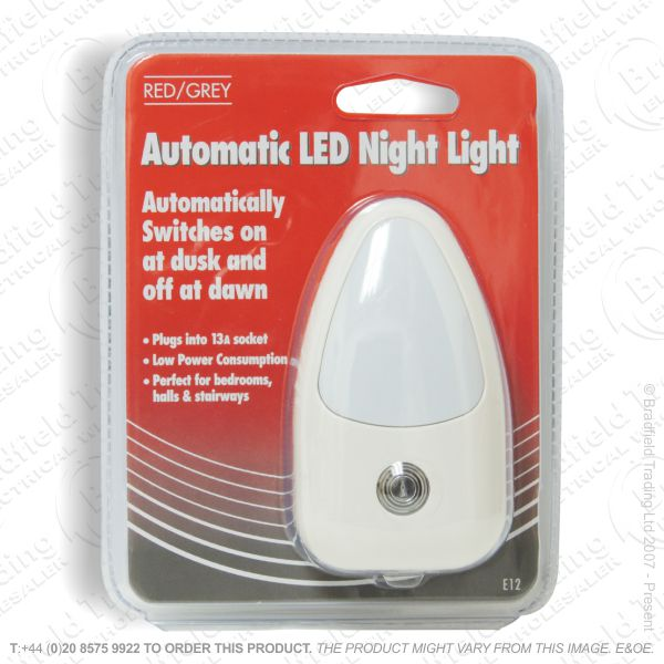 B09) Night Light Plugin LED Senso REDGREY E12
