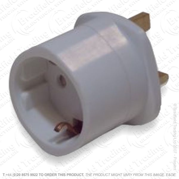 F11) Tourist Schuko Euro Adaptor to UK 3pin
