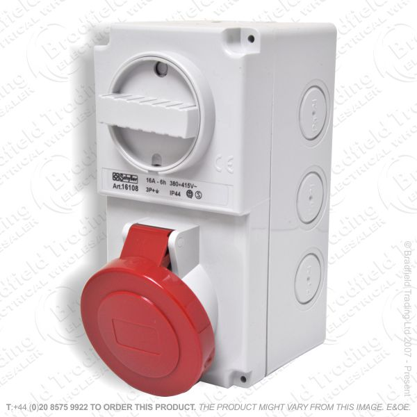 F06) Wall Socket Switched 16A 415V 3P+E