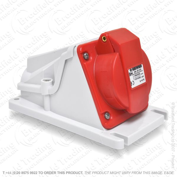 F06) Wall Socket Angled 16A 415V RED