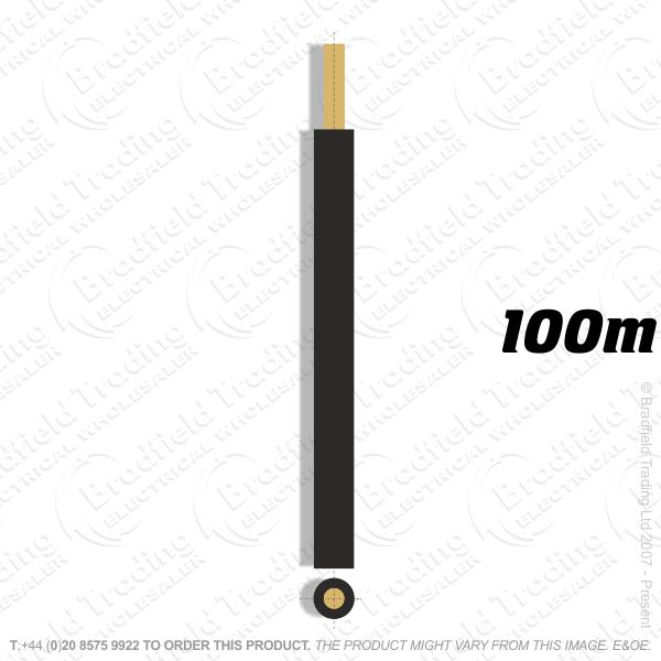 H04) Single Strand Black 16mm 100M 6491X