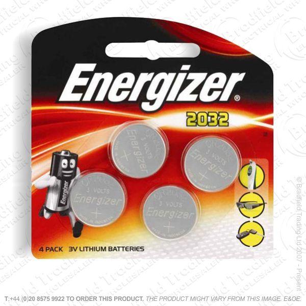 E09) Battery CR2032 3V lithium x4 pk ENERGIZE