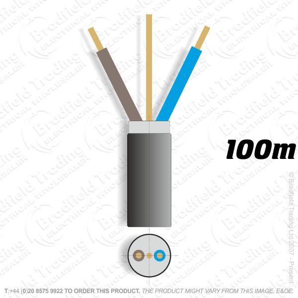 H07) Fire Black 2.5mm 2 core   earth 100M