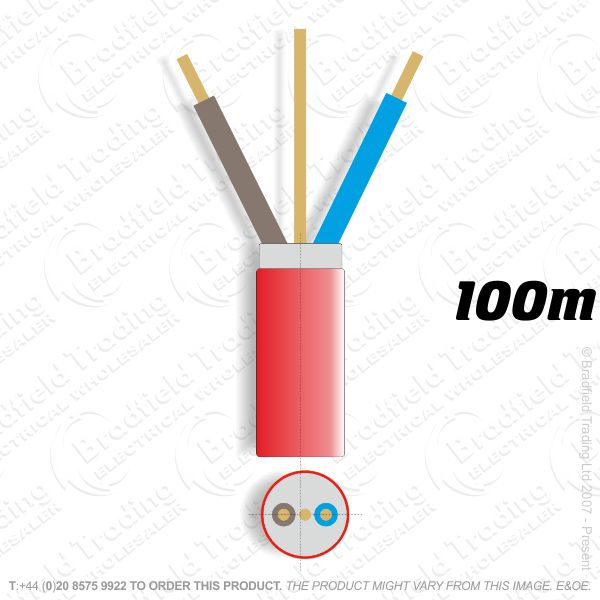 H07) Fire Red 2.5mm 2 core   earth 100M