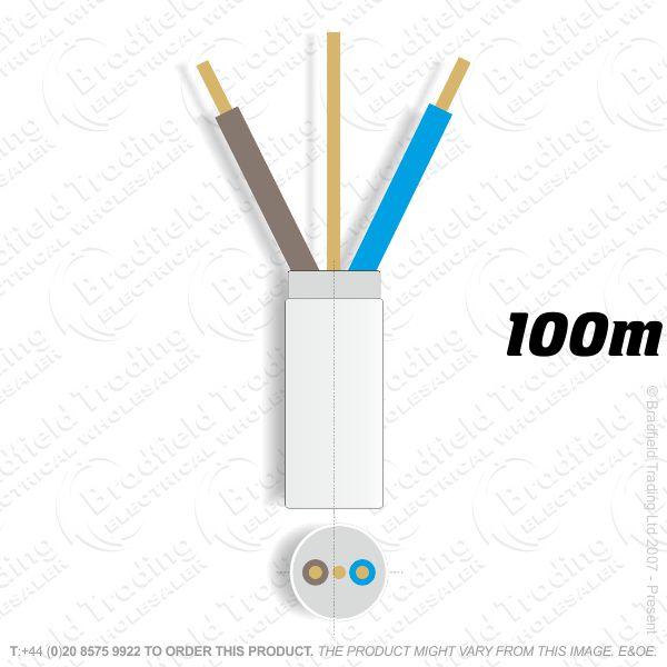 H07) Fire White 2.5mm 2 core   earth100M