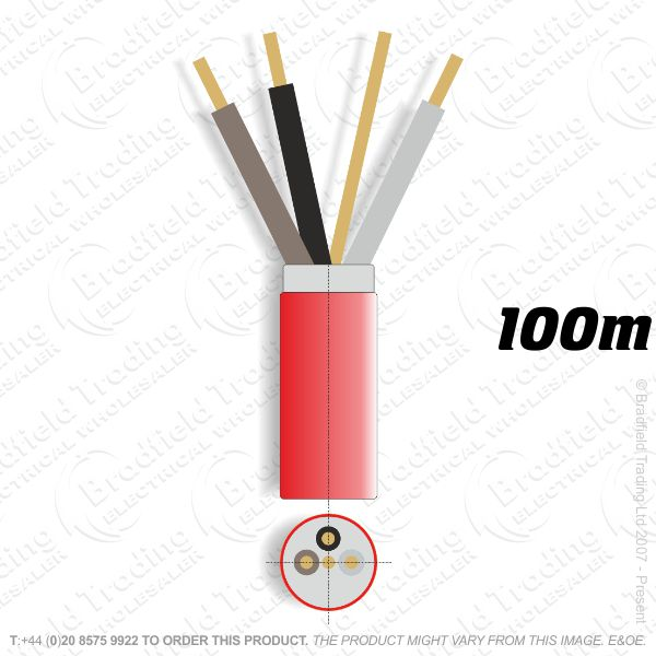 H07) Fire Red 2.5mm 3 core   earth 100M