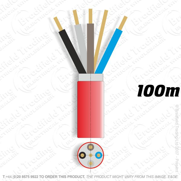 H07) Fire Red 2.5mm 4 core   earth 100M
