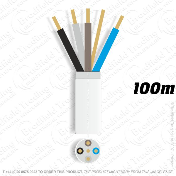 H07) Fire White 2.5mm 4 core   earth100M