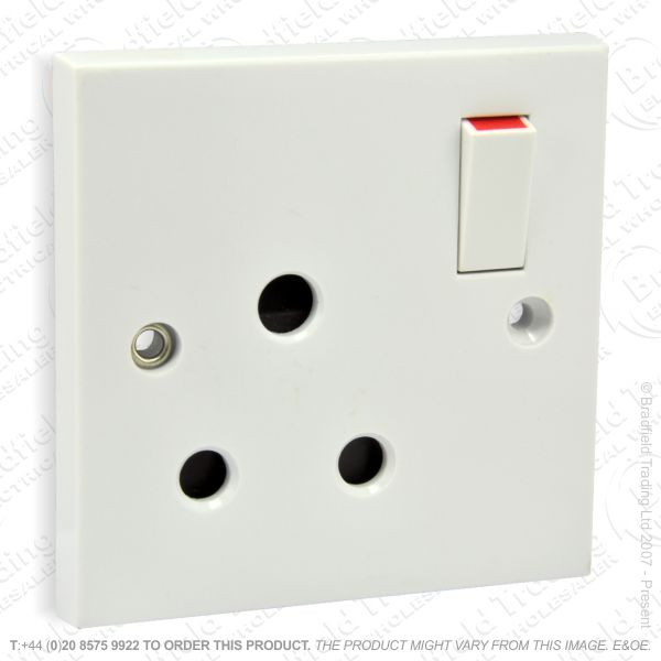 I24) Socket Round3pin 1G 15A swit white