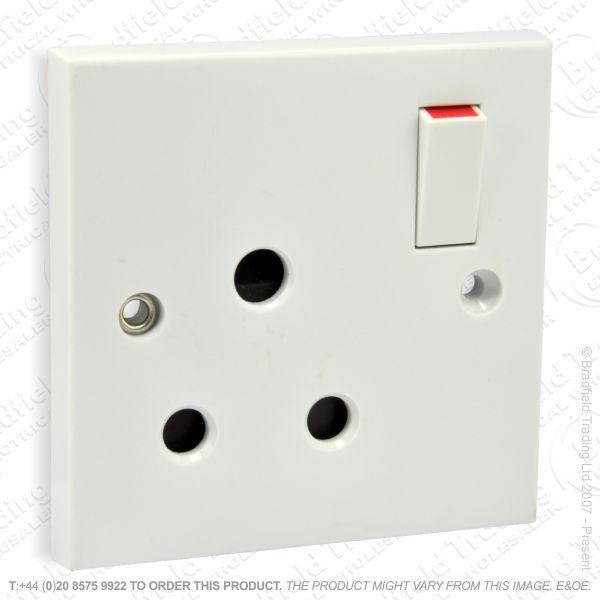 I24) Socket Round 3pin 1G 15A Unswitche white