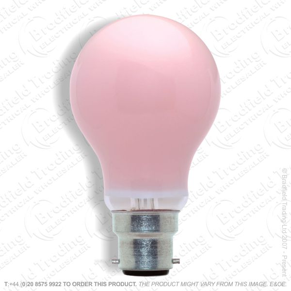 A02) GLS Coloured BC Pink 25W bulb