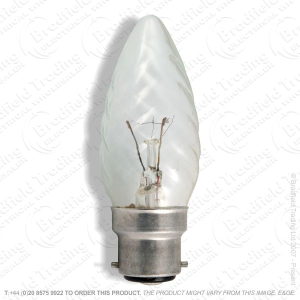 A05) Candles 35mm BC Twisted clear 25W BEL
