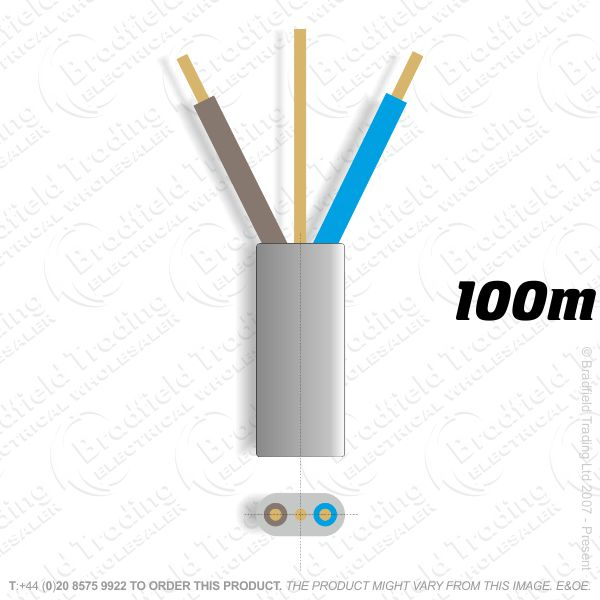 H10) 6242Y Flat 2.5mm T E Grey 100M Cable