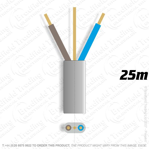 H10) 6242Y Flat 2.5mm T E grey 25M Cable