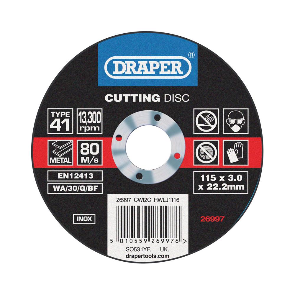 Metal Inox Cutting Disc 115x3mm DRAPER