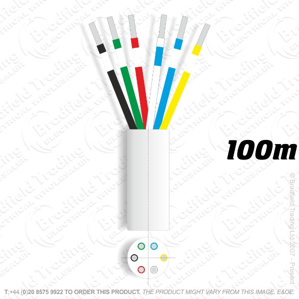 H08) Telephone 3 pair white 100M Cable ECO