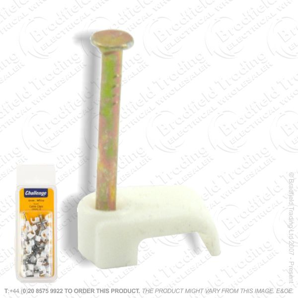 H02) Cable Clips Bell Wire White 50pc (12) BP