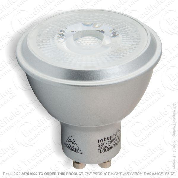 A37) LED GU10 6.8W Dim COB CW 4k Silver INT