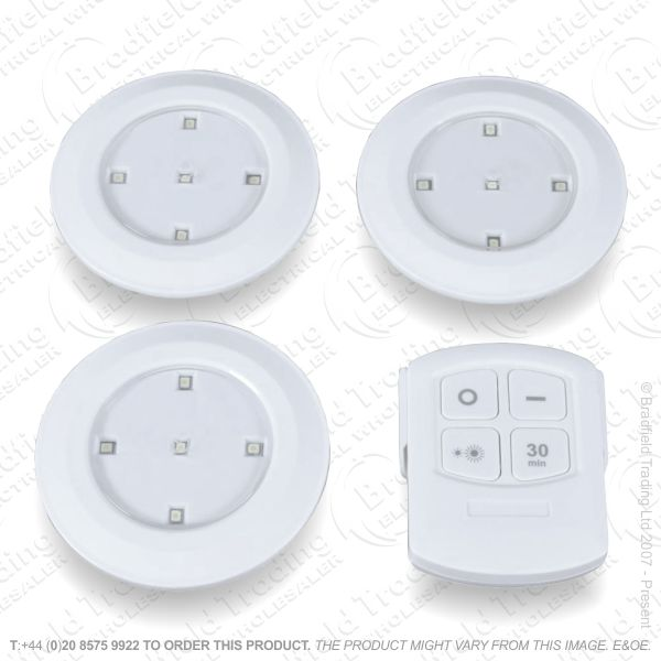 3pc LED Cupboard Light Remote Cont
