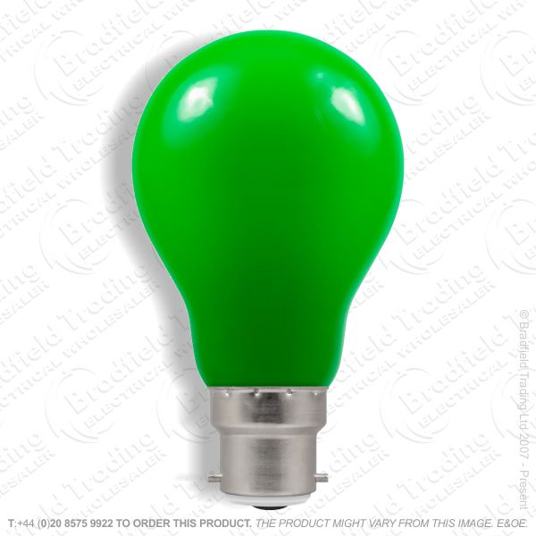 A23) LED GLS 1.5W BC Green Colour CROMTON