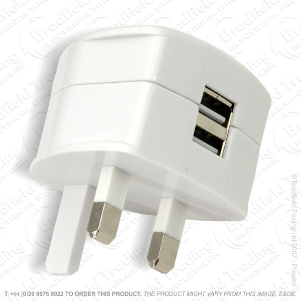 USB Mains Charger Twin 2400mA 5V MERC
