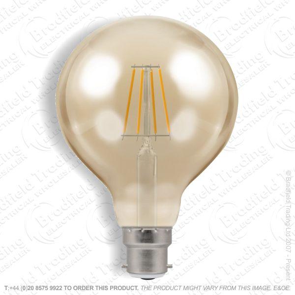 A34) LED BC 5w Globe 80 2200k Dimm Filament