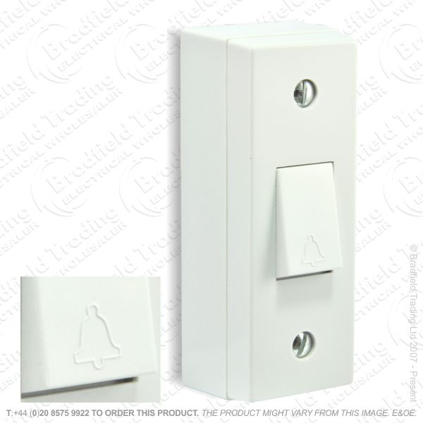 I24) Switch Architrave 1G Bell Push Whit