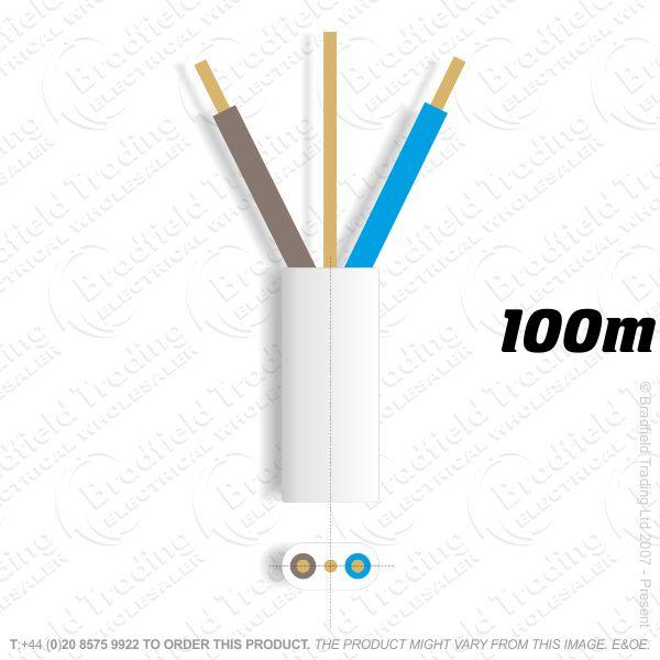 H10) 6242B Flat 4mm T E Low Smoke 100M White